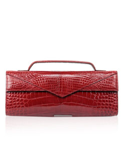 Crocodile Clutch Bag GORNER, Shiny Red