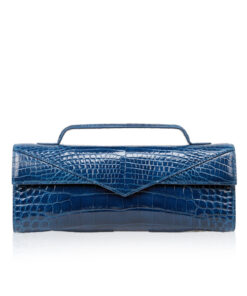 Crocodile Clutch Bag GORNER, Shiny Royal Blue