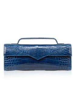 Crocodile Clutch Bag GORNER, Shiny Royal Blue