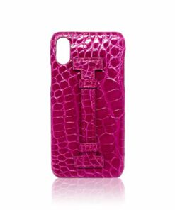 iPhone X Case, Crocodile Skin with Handle, Shiny Hot Pink