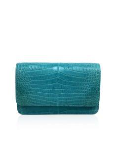Crocodile Leather BARZAAR Clutch Bag, Size 19 cm