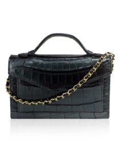 Crocodile Leather CERVIN With Handle Sling Bag, Dark Green