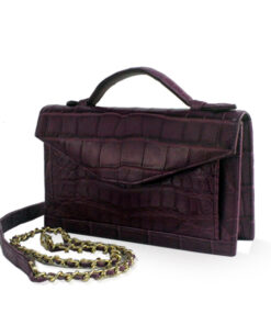 Crocodile Leather CERVIN With Handle Sling Bag, Purple