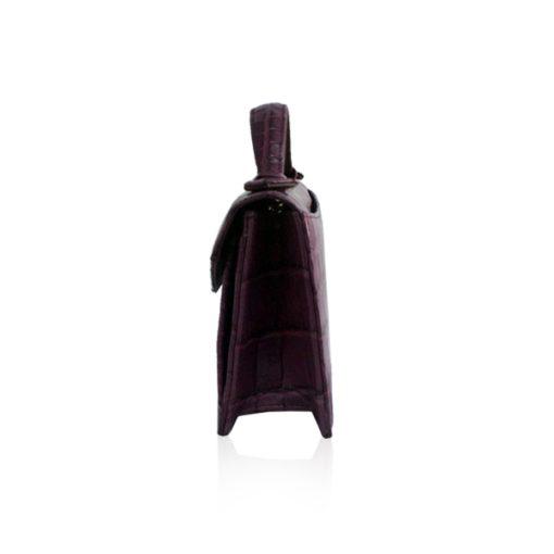 Crocodile Leather CERVIN With Handle Sling Bag, Purple