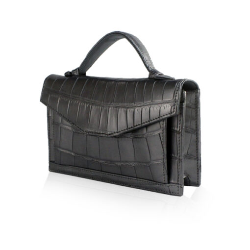 Crocodile Leather CERVIN With Handle Sling Bag, Limited Shiny Silver