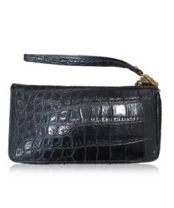 Crocodile Round Zipper Purse With Strap, Size 19