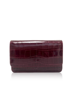 Crocodile Sling Bag BARZAAR, Shiny Burgundy