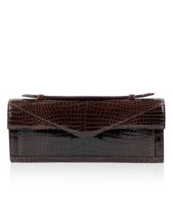 FURI Crocodile Skin Clutch Bag, Shiny Brown, 30 cm