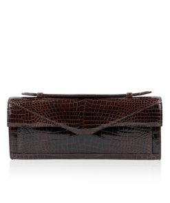 FURI Crocodile Skin Clutch Bag, Shiny Brown, 30 cm