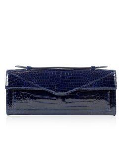 FURI Crocodile Skin Clutch Bag, Shiny Dark Blue, 30 cm