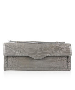 FURI Crocodile Skin Clutch Bag, Shiny Grey, 30 cm