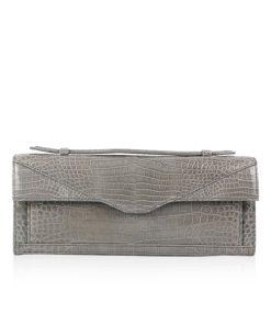 FURI Crocodile Skin Clutch Bag, Shiny Grey, 30 cm