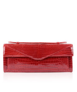 FURI Crocodile Skin Clutch Bag, Shiny Red, 30 cm