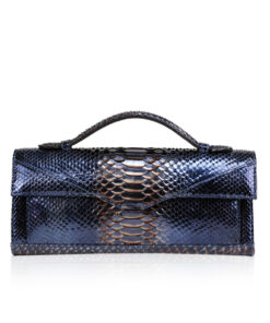 FURI Python Skin Clutch Bag, Metallic Blue, 30 cm