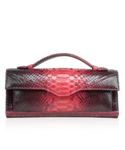 FURI Python Skin Clutch Bag, Red & Black, 30 cm