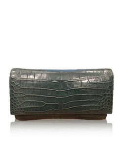 LUANA, Crocodile Belly Leather Clutch Bag, Matte Green