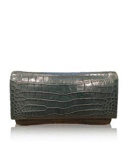LUANA, Crocodile Belly Leather Clutch Bag, Matte Green