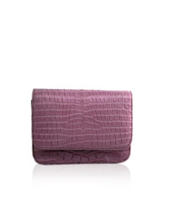Matte Crocodile Leather Mini BARZAAR Clutch Bag, Size 14 cm