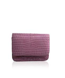 Matte Crocodile Leather Mini BARZAAR Clutch Bag, Size 14 cm