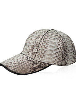 Python Leather Hat , Natural