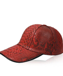 Python Leather Hat , Red & Black