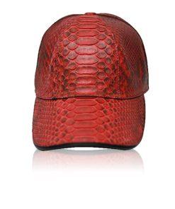 Python Leather Hat , Red & Black