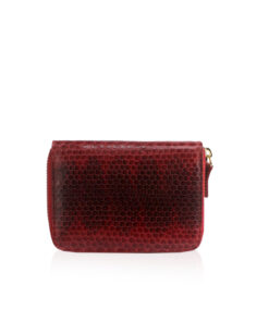 Sea Snake Leather Round Zipper Purse, Size 12 cm