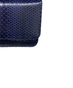 Sea Snake Leather Sling Bag BARZAAR, Navy Blue