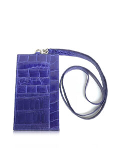 iPhone Wallet With Strap, Crocodile Belly, Blue