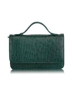 Barzaar Top Handle Green Ostrich Leather Clutch Bag