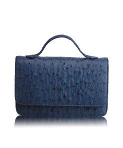 Barzaar Top Handle Navy Blue Ostrich Leather Clutch Bag