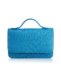 Barzaar Top Handle Turquoise Ostrich Leather Clutch Bag