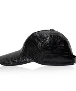 Crocodile Belly Leather Hat, Black