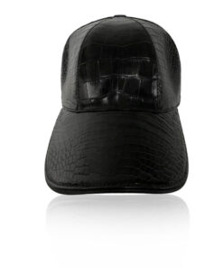 Crocodile Belly Leather Hat, Black