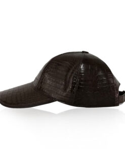 Crocodile Belly Leather Hat, Brown