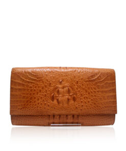 Crocodile Hornback Leather Clutch Bag, LUANA, Tan, Size 28 cm