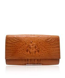 Crocodile Hornback Leather Clutch Bag, LUANA, Tan, Size 28 cm