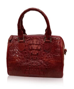 Crocodile Hornback Leather Handbag PILLODY, Burgundy, Size 23 cm