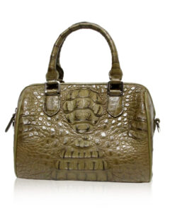 Crocodile Hornback Leather Handbag PILLODY, Olive Green , Size 23 cm