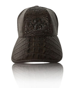 Crocodile Hornback Leather Hat, Brown