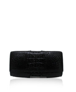 Crocodile Leather Clutch Bag, LUANA, Black, Size 25 cm