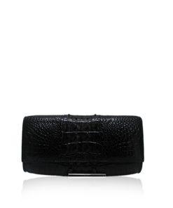 Crocodile Leather Clutch Bag, LUANA, Black, Size 25 cm