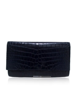 Crocodile Leather Clutch Bag, LUANA, Black, Size 28 cm