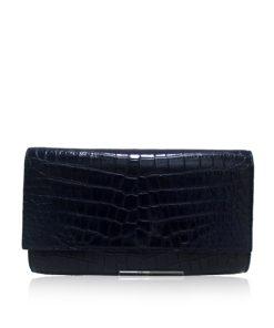 Crocodile Leather Clutch Bag, LUANA, Black, Size 28 cm