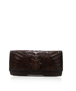 Crocodile Leather Clutch Bag, LUANA, Brown, Size 25 cm