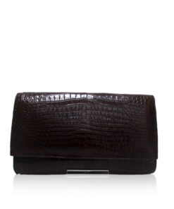 Crocodile Leather Clutch Bag, LUANA, Brown, Size 28 cm
