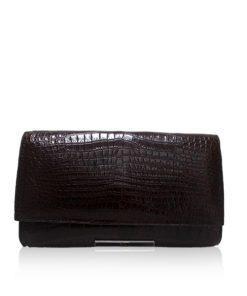 Crocodile Leather Clutch Bag, LUANA, Brown, Size 28 cm
