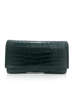 Crocodile Leather Clutch Bag, LUANA, Dark Green, Size 28 cm