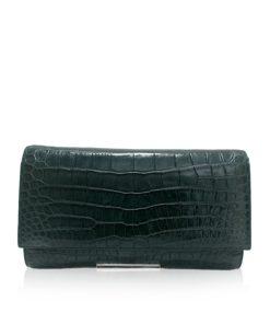 Crocodile Leather Clutch Bag, LUANA, Dark Green, Size 28 cm