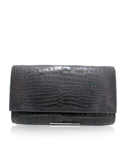Crocodile Leather Clutch Bag, LUANA, Grey, Size 28 cm
